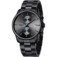 Montres pour Hommes avec Montre à Quartz chronographe étanche décontractée en Acier Inoxydable et en métal, Date…