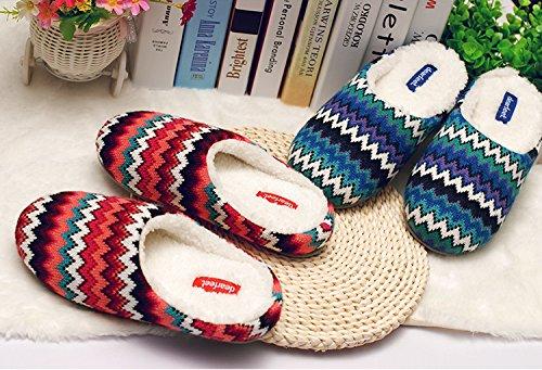 In primavera e in autunno, Pantofole di casa, donne, in cotone, morbido, comodo, caldo, insapore, peluche, spessa, antiscivolo Red