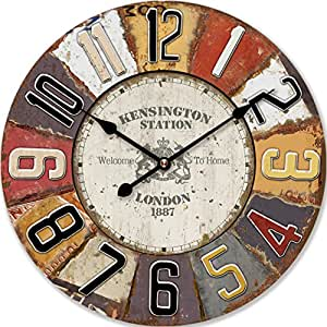 HORLOGE MURALE DESIGN LONDON SHABBY RONDE 60CM NOSTALGIE - Tinas Collection