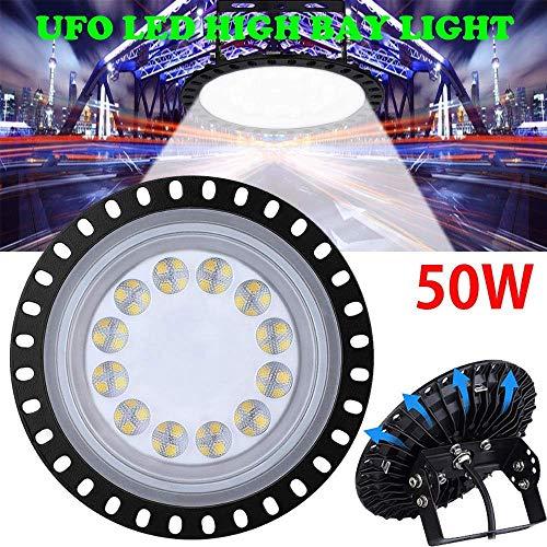 UFO LED Illuminazione Alta 50W 5000LM Riflettore da Esterni LED Ultra-sottile Lampadario Industriale, Magazzino Industriale Lampada Industriale, Faretto Esterno,Impermeabile IP65 Bianco Freddo