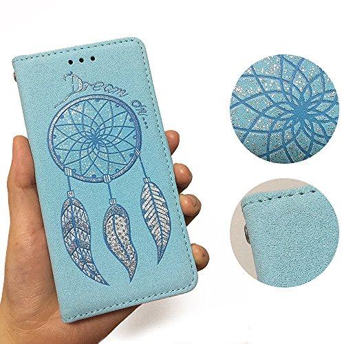 Crisant Case Cover For Apple iPhone 6 6S 4.7'' (4,7''),3D Carillons de vent bling conception portefeuille magnétique supporter PU cuir de flip protection housse coque étui pour Apple iPhone 6 6S 4.7'' blue