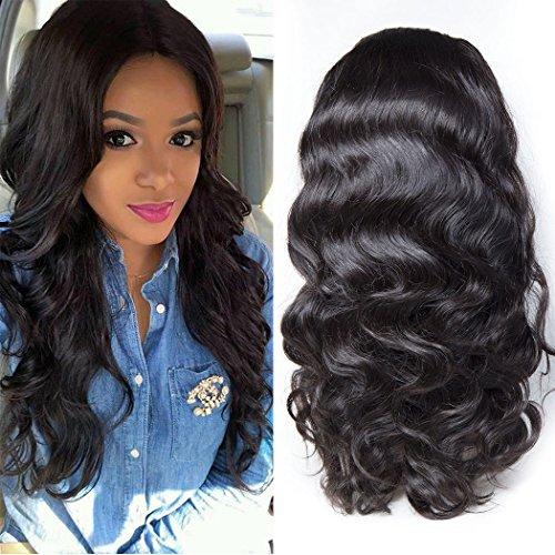 Maxine 360fronthaar Perücke Gap mit Baby Hair Body Wave Brazilian Virgin Haar 100% unverarbeitetem Echthaar Perücken für Damen schwarz