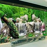 Wandbild Naturbild-Tapeten-Landschafts-Bambuswald Fällt Pfau-Bettwaren-Raum 3D Nichtgewebter Tapeten-Tv-Hintergrund-400 * 300cm