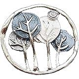 Spilla magnetica per sciarpa, abbigliamento, poncho, borse, stivali, albero della vita, foglia argento – blu