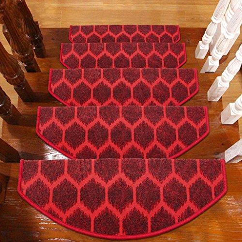 BBYE Stufenmatten Selbstklebend Anti-Rutsch-Massivholz Haushalt Stufen-Pad Extra Verdicken Solid Farbe Treppen-Teppich Farbe Größe Optional ( Farbe : Rot , größe : 1 Pcs-75*24cm )