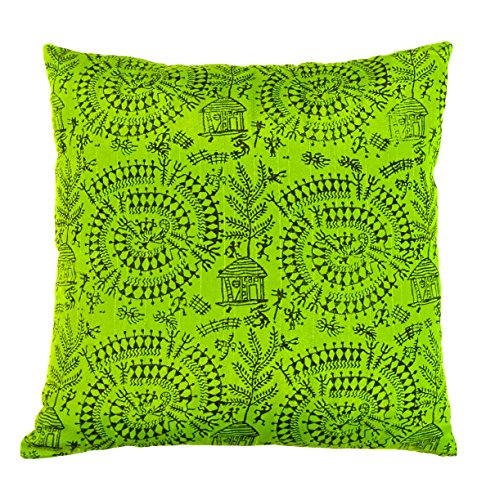 the-indian-promenade-16-x-16-inch-blended-cotton-warli-print-cushion-cover-bright-parrot-green