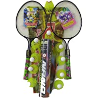 Badminton Racket for Kids Set of 2 Pieces with Shuttlecock 10 Piece Combo Pack. Color May Vary by Sun Online Sports