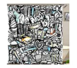 KnSam Duschvorhang Anti-Schimmel Wasserdicht Vorhänge an Badewanne Bad Vorhang für Badezimmer Karikatur Stadt New York 100% PEVA inkl. 12 Duschvorhangringen 90 x 180 cm