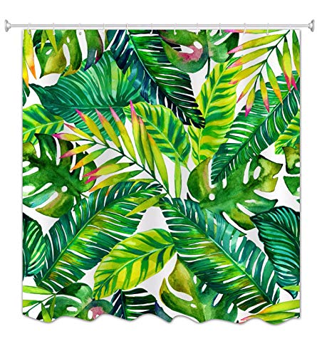 A.Monamour Tropische Grüne Bananenbaumblätter Frühlingsthema Druckgewebe Polyester Wasserdichter Mehltau Beweis Lang Verdicken Duschvorhang Set Mit Haken 180X200 cm / 72