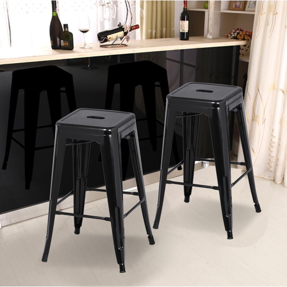 Yaheetech 4 Sgabelli Alti da Bar Cucina Moderni Industriale Impilabili Neri  in Metallo Ferro con Poggiapiedi Altezza 76 cm