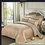 Cnspin Baumwolle Luxus Satin Jacquard Bettwäsche Seide Spitze Duvet Set Hochzeit Geschenk 4 Stücke 1 Bettbezug, 1 Bettwäsche, 2 Kissenbezüge, C, 220X240Cm