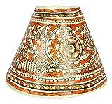 #4: Ananthamma LEATHER WORK Leather Painted Lamp Shade (Orange & White, NADA14)