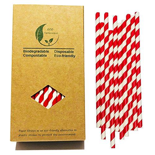 recyslable Papier Box 100Stück rot Streifen Papier Trinkhalme für Party Dekorationen 6 Demitasse Cup