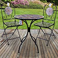 977969760653 Marko Outdoor 3PC Mosaic Bistro Sets Round Table Folding Chairs Outdoor  Garden Patio Cafe Furniture Al
