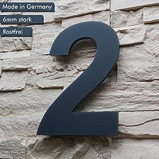 Hausnummer 2 ( 17cm Ziffernhöhe ) in Anthrazit-grau, aus massiven 6mm Acrylglas - Original ALEZZIO Design - Rostfrei, UV-beständig und abwaschbar, Anthrazit wie Pulverbeschichtet RAL 7016, inklusive Montagematerial und Montageschablone für kinderleichte Montage