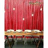 ShinyBeauty 12ftx20ft Pailletten - Hintergrund Rot Schimmern Pailletten - Photo Booth Kulisse f¨¹r Weihnachten Thanksgiving