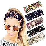 DRESHOW Boho bandeaux pour les femmes fleur Vintage imprimé Criss Cross noué élastique bande de cheveux extensible tête Wrap Twisted cheveux mignons accessoires 10 Pack