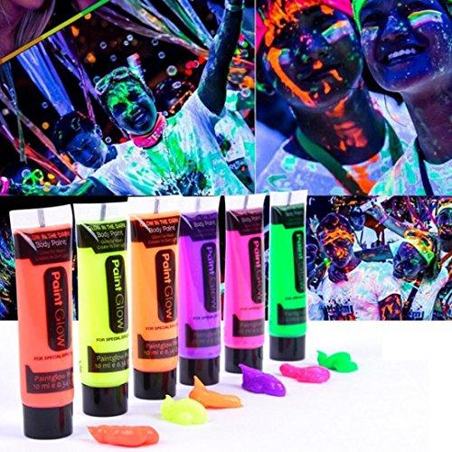 6 STÜCK 6 Farben Fluoreszierende Partei handgemalte Farbe Glow In Dark Körperbemalung Körperkunst Farbe Upxiang UV Glow Face Körperfarben Haut für Geburtstag Nachtclub (Körper The Glow Für In Dark-farbe)