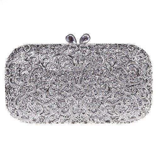Santimon Donna Pochette Borsa Lusso Conservato Fiore Blocco Borsellini Borsetta Moda Borse Con Tracolla Amovibile 2 Colori argento
