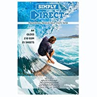 25 x Simply Direct A4 Gloss Inkjet Photo Printing Paper - 210gsm - Professional Premium Photographic Paper