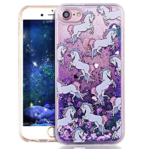 iPhone 7 Plus Case Femme,iPhone 7 Plus (Not pour iPhone 7 4.7 Pouce) Coque Anti chock Transparente Plastic Liquide Coque Etui Case Cover,iPhone 7 Plus Coque Bling Diamant Cœur Etui Coque,iPhone 7 Plus Horse 4