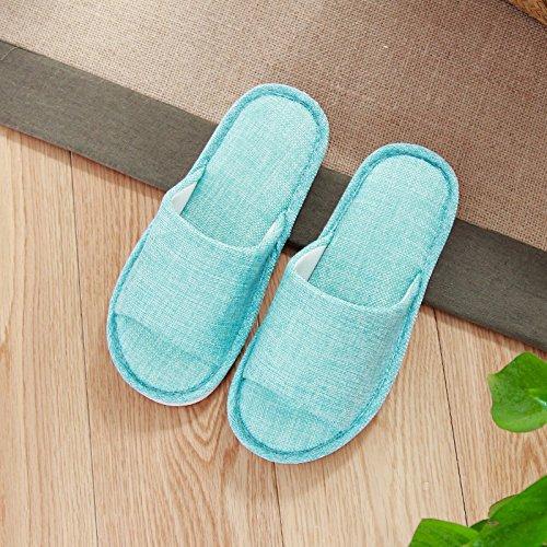 lin, pantoufles, summer home, hommes et femmes, quatre saisons amants, parole, antidérapants, intérieur des pantoufles, femmes Blue