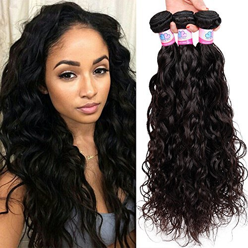 Cheveux brésiliens vierges naturels Wave 3 trames Lot cheveux non traités couleur naturelle de Tissages cheveux Extensions de cheveux haut 7 A (14 16 45,7 cm)
