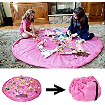 Amaza 150cm Estera Juegos Bolsa Alfombra Almacenamiento Juguetes Recogidos Hijos de Limpieza Bolsa Recoger Lego (Rosa)