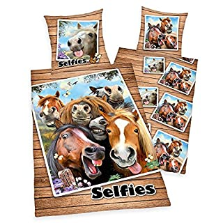 Selfies Bettwäsche Lustige Pferde Pony Rappen Geschenk 135 x 200 NEU WOW - All-In-One-Outlet-24 -