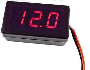 GEREE 0.4 Mini Digital Voltmeter DC 1.7-25V with 2 Wires Red Digital Display Voltage Meter for Car Motorcycle E-bike, ATV, Scooter ect