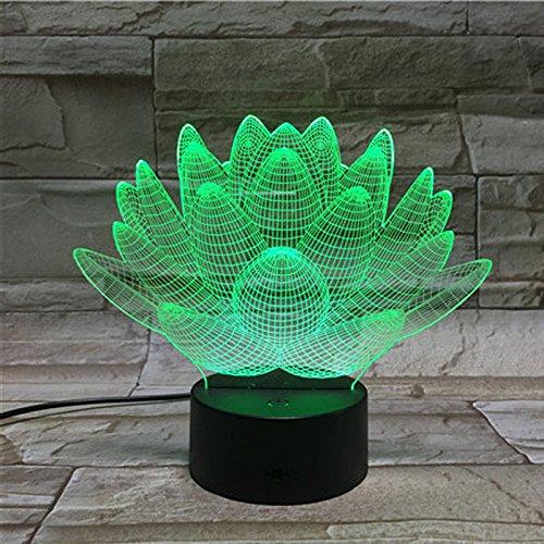 DE-3D Nachtlichter -Lotus berühren Illusion von bunten 3D Stereo LED Nachtlicht Leuchttisch