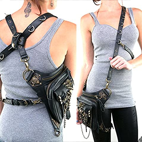 QuYing Rock Leather & Vintage Gothic Retro Steampunk Handbag Shoulder Coin Purse Skull Pocket Rivet Bag (SL001) …