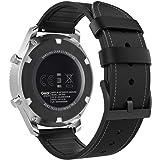MoKo Armband voor Gear S3/Gear S3 Classic/Galaxy Watch 46 mm/Gear S3 Frontier/Gear 2 R380/Neo R381, klassiek echt leren horlo
