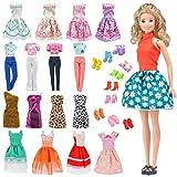 E-TING Los 15 Artikel Röcke Kleidung Kleider Outfit für Barbie Puppen (5 Sets Outfit Gelegentlich versendet + mit 10 Paar Schuhe)