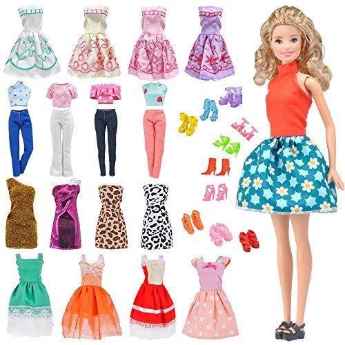 E-TING Los 15 Artikel Röcke Kleidung Kleider Outfit für Mädchen Puppen (5 Sets Outfit Gelegentlich versendet + mit 10 Paar Schuhe) -