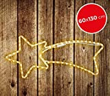 757228 Stella cadente natalizia luci BIANCHE telaio in metallo 130 x 60 cm. MEDIA WAVE store