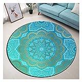 LB Round Area Rug, Hellblau, Blume, Mandala Muster Wohnzimmer Schlafzimmer Badezimmer Küche weichen Teppich Bodenmatte Home Decor, 100x100CM