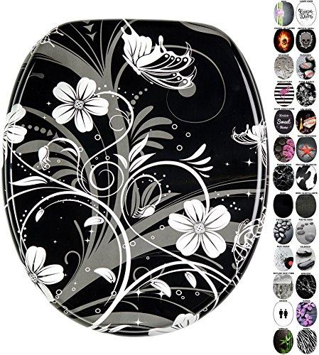 Sedile wc, grande scelta di sedili wc neri da legno robusto e di alta qualità (fiore bianco)