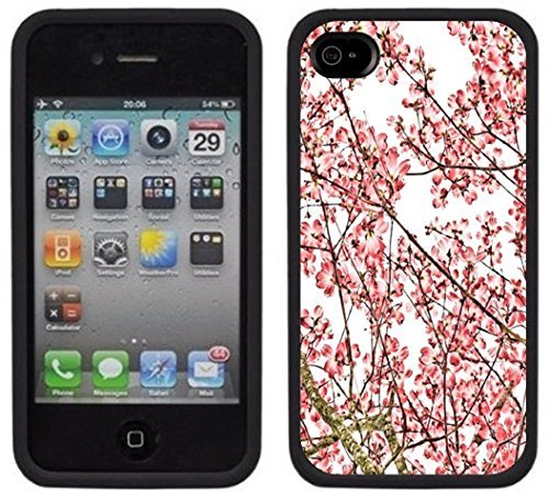 ouucase Cherry Blossoms Étui pour iPhone 4/4S Noir DIY HD Housse PC Pour New Design