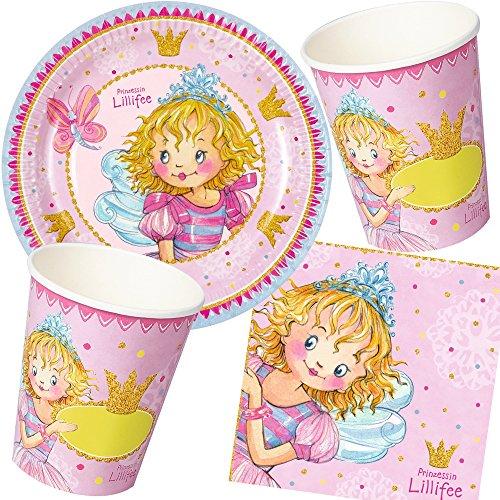 * PRINZESSIN LILLIFEE * mit Teller + Becher + Servietten + Deko // Princess Kindergeburtstag Kinder Geburtstag Party Mottoparty Luftballons Deko Rosa Pink Mädchen ()