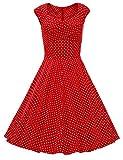 Dresstells 50s Retro Audrey Hepburn Swing Pinup Polka Dots Rockabilly Dress Red Dot XS
