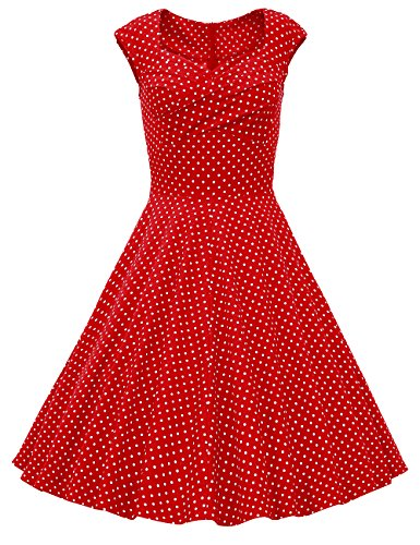 Dresstells, Vintage 1950's Audrey Hepburn robe de soirée cocktail, bal style années 50, Rockabilly, Swing, Pois Rouge M