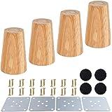 Houten meubelpoten, set van 4 houten poten massief hout conisch M8 reserve meubels poten houtkleur voor bank bank bank kast O