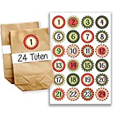 Papierdrachen Adventskalender Set - 24 braune Tüten und 24 rot-grüne Zahlenaufkleber - zum selber basteln und zum selbstbefüllen - Mini Set 17