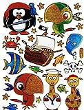 Piraten Säbel Fische krabbe Piratenschiff Papagei bunt Aufkleber 25-teilig 1 Blatt 135 mm x 100 mm Sticker Basteln Kinder Party Metallic-Look