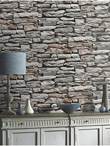 Arthouse natur grau schiefer Wand rustique-bronze mit Stein Tapete Ziegel - Schiefer Stein Ziegel