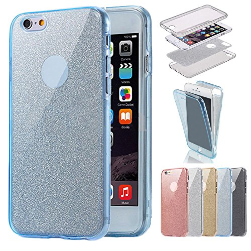 Sycode 360 Gradi Glitter Custodia per iPhone 8 Plus / 7 Plus,Full Body Bling Sparkling Cover per iPhone 7 Plus,Stilosa Gradiente Colore Morbido Fronte Retro 2 in 1 TPU Silicone Gomma Gel Slim Anterior Full Body Glitter Blu