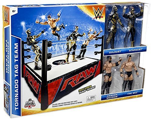 WWE Wrestling Superstar Rings Tornado Tag Team Exclusive Action Figure Playset [with Golddust, Stardust, Damien Mizdow & The Miz] by WWE