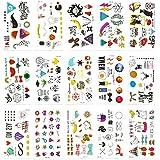 Chileeany Lot de 15 Tatouages Temporaire Tattoos Étanche 105 x 60 mm,motifs variés