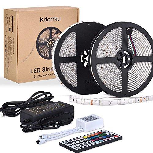 LED Streifen, kdorrku 10M 300 LED Lichtband LED Bänder SMD 5050 Wasserdicht Flexibel RGB IP65 LED Stripes mit 44 Tasten IR Fernbedienung für Decke Bar Theke Schrank Beleuchtung (10M)